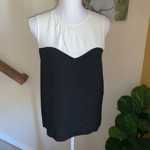 Kate Spade Black And Cream silk tank blouse size 2